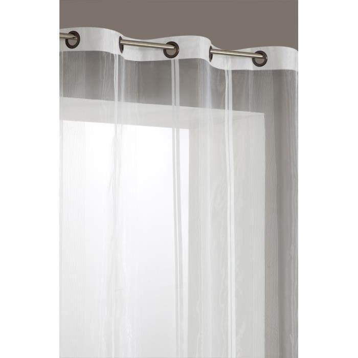 rideau voilage rayures 140x240cm 6 oeillets b achat vente rideau voilage rideau voilage. Black Bedroom Furniture Sets. Home Design Ideas