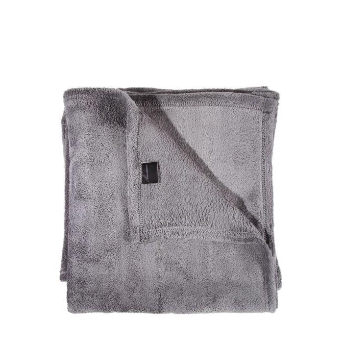 plaid polaire microfibre gris achat vente couverture. Black Bedroom Furniture Sets. Home Design Ideas