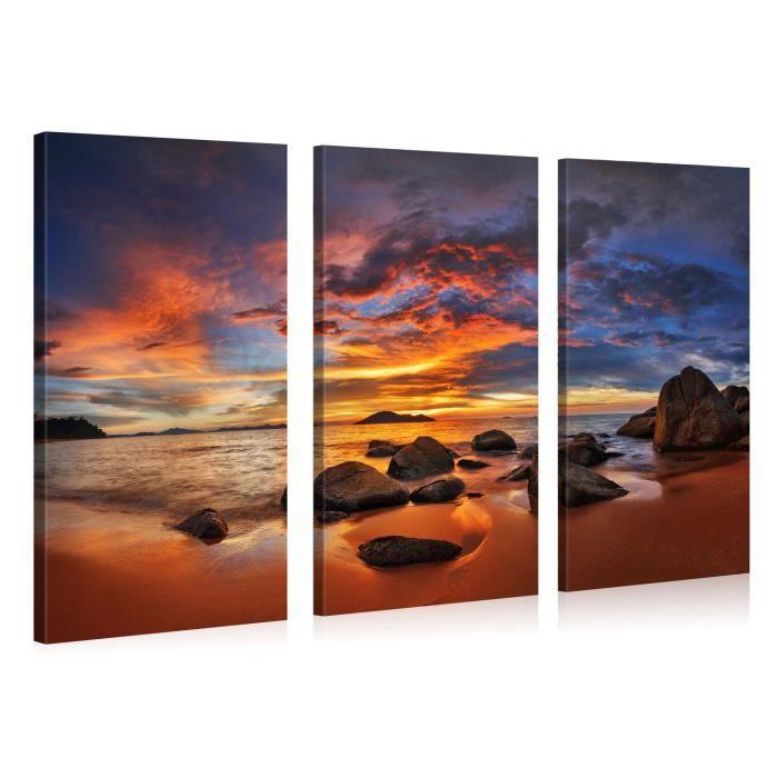 Tableau sur toile island sunset 130x80cm achat vente for Tableau impression sur toile