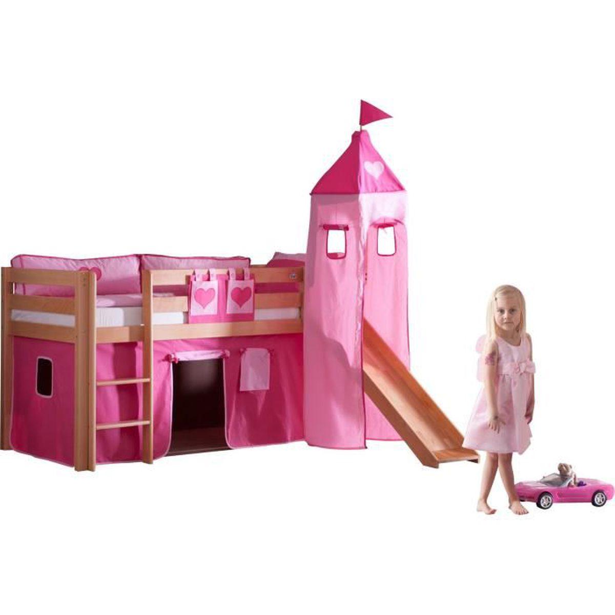lit sur lev avec toboggan en h tre massif et ensemble de textiles coloris rose fonc h tre. Black Bedroom Furniture Sets. Home Design Ideas