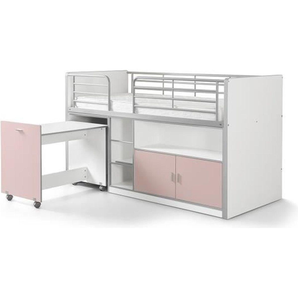 vipack lit mezzanine bureau rangement 90x 200 bonny rose clair achat vente lit mezzanine. Black Bedroom Furniture Sets. Home Design Ideas