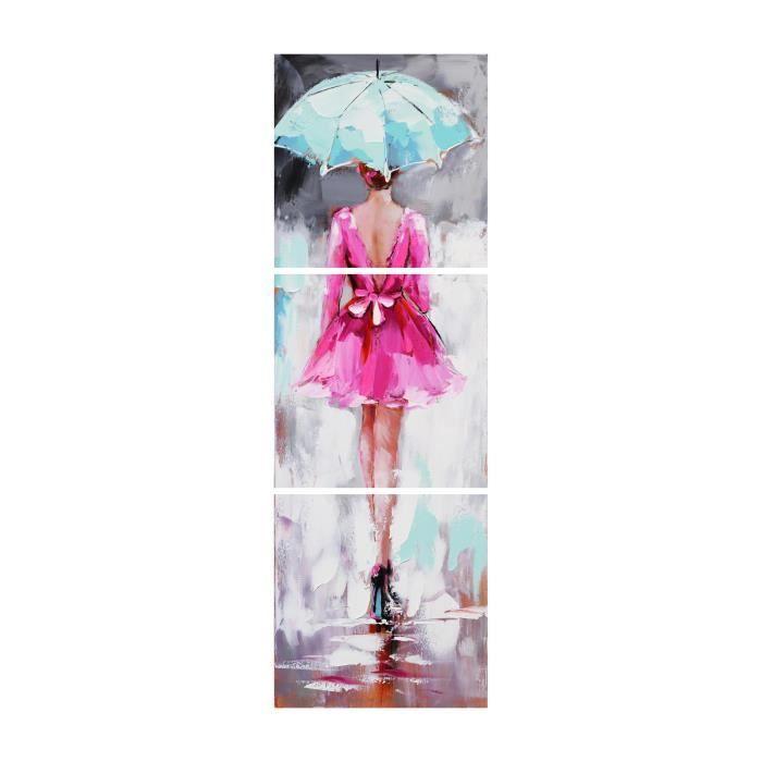 aonbat peinture l 39 huile peint la main femme de dos v tue de rose marchant sous la pluie. Black Bedroom Furniture Sets. Home Design Ideas