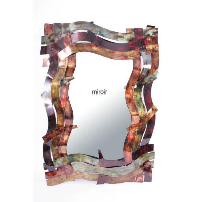 Grand miroir rectangulaire bandes multicolores achat for Miroir 3 bandes