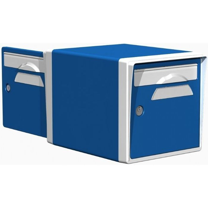 boite aux lettres r sine 2 portes bleu blanc 09 achat. Black Bedroom Furniture Sets. Home Design Ideas