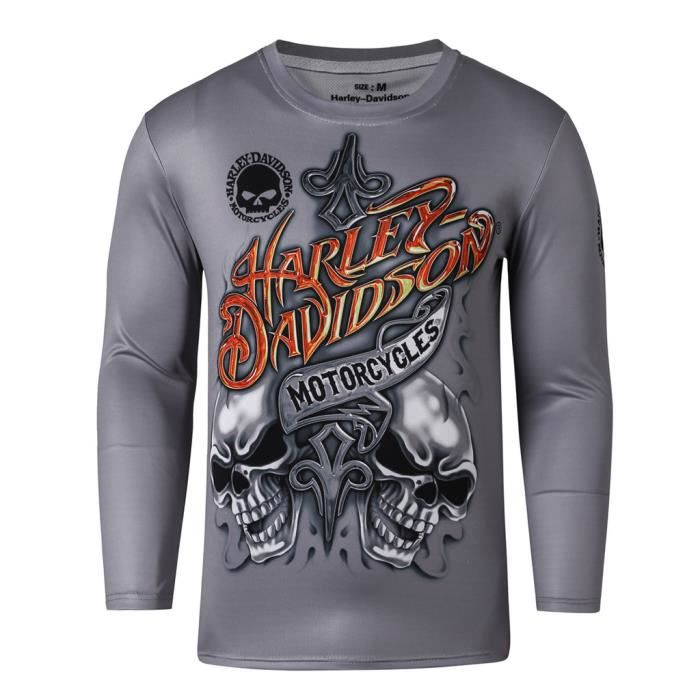 harley davidson longsleeve t shirt manches longues homme prix pas cher cdiscount. Black Bedroom Furniture Sets. Home Design Ideas