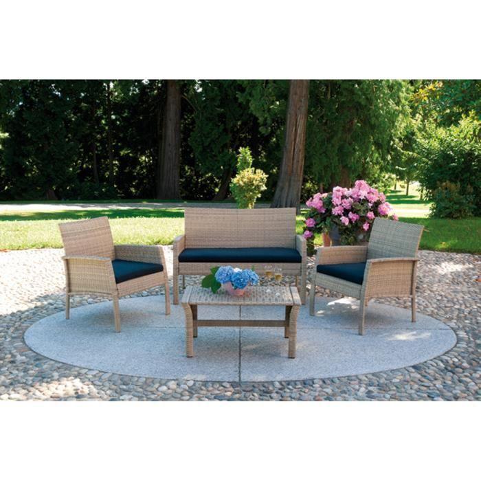 Salon jardin de canap 2 fauteuils 1 table couleur for Salon 4 fauteuils