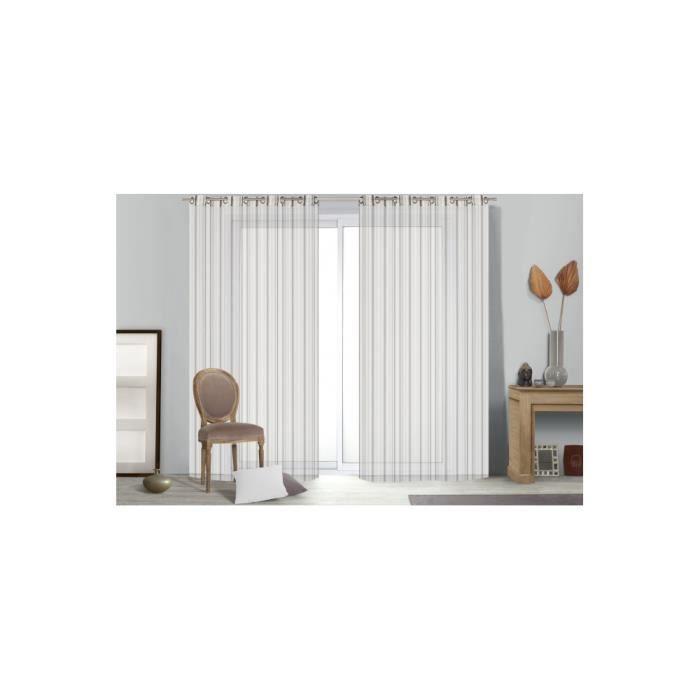 rideau voilage ray multicolore grande hauteur achat vente rideau polyester polyamide. Black Bedroom Furniture Sets. Home Design Ideas