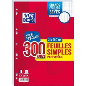 OXFORD Feuilles simples perforées A4 - 300p