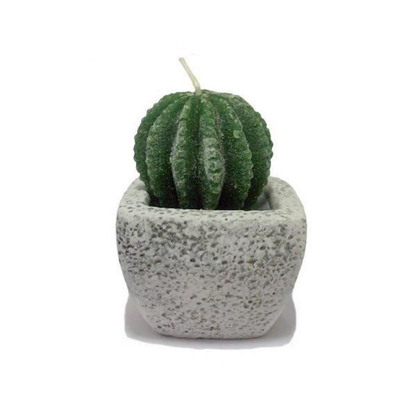 bougie cactus avec pot en pierre 2 achat vente bougie cdiscount. Black Bedroom Furniture Sets. Home Design Ideas