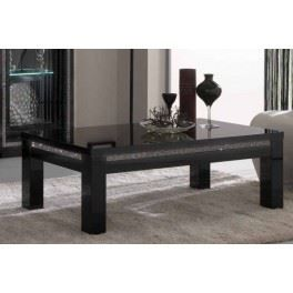 Table basse design laqu e noire strass satina achat for Table basse laquee noire