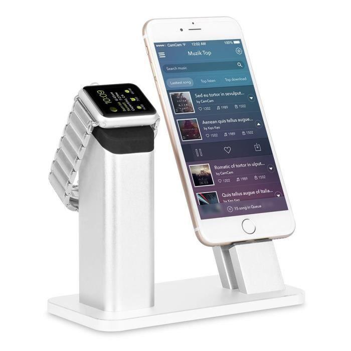 original chargeur station de charge pour montre apple iphone se 5 5s 6 6s 7 plus achat. Black Bedroom Furniture Sets. Home Design Ideas