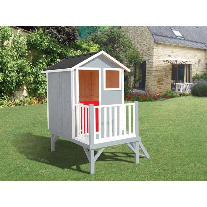 cabane en bois pour enfant sur pilotis louise achat vente maisonnette ext rieure cdiscount. Black Bedroom Furniture Sets. Home Design Ideas