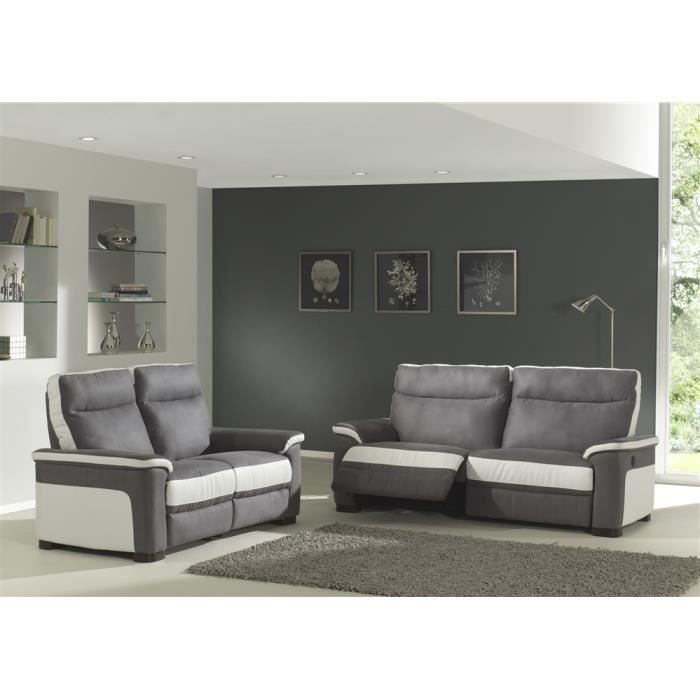 Canap relaxation 3 2 switsofa colbert gris blanc achat vente canap so - Canape relax cdiscount ...