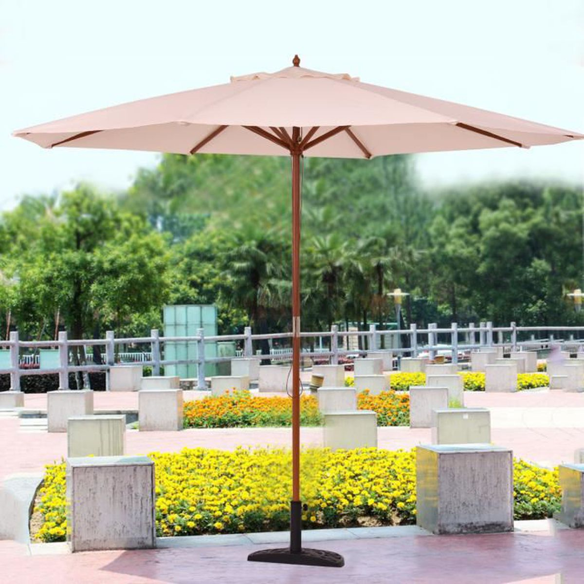 parasol parasol de march de la cr me solaire de jardin en bois 270cm achat vente parasol. Black Bedroom Furniture Sets. Home Design Ideas