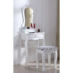coiffeuse blanche achat vente coiffeuse blanche pas cher les soldes sur cdiscount cdiscount. Black Bedroom Furniture Sets. Home Design Ideas