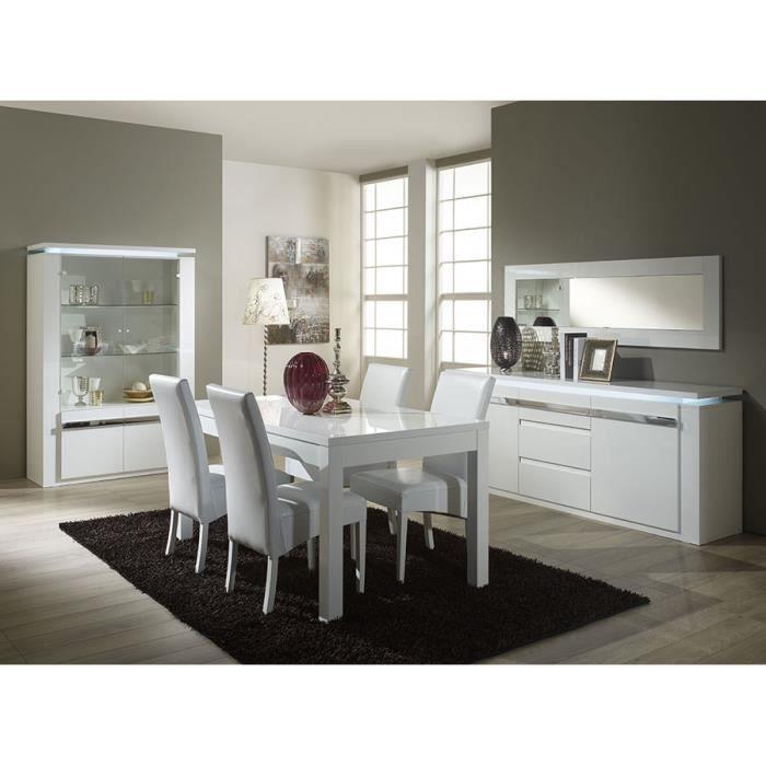 Salle manger compl te blanc laqu design alice l 190 cm for Salle a manger complete design