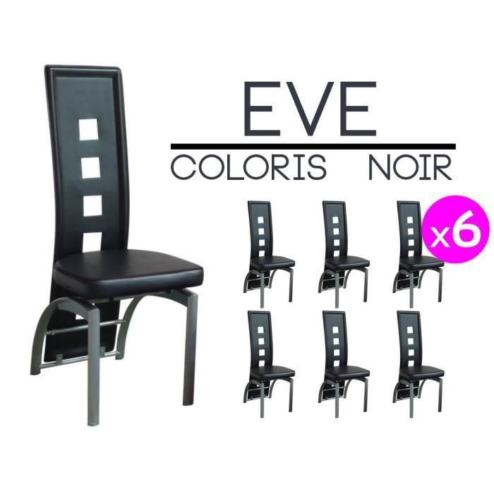 eve lot 6 chaises noires achat vente chaise noir. Black Bedroom Furniture Sets. Home Design Ideas