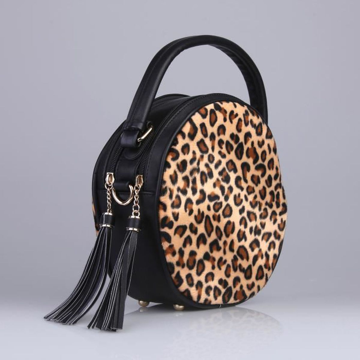 sac main rond imprim l opard femme achat vente sac main rond imprim l o cdiscount. Black Bedroom Furniture Sets. Home Design Ideas