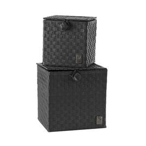 Meuble rangement 2 portes et tiroirs noir achat vente - Boite de rangement pour bagues ...