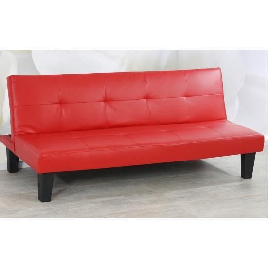 Canap lit en cuir synth tique rouge de 168 cm achat for Canape lit en cuir