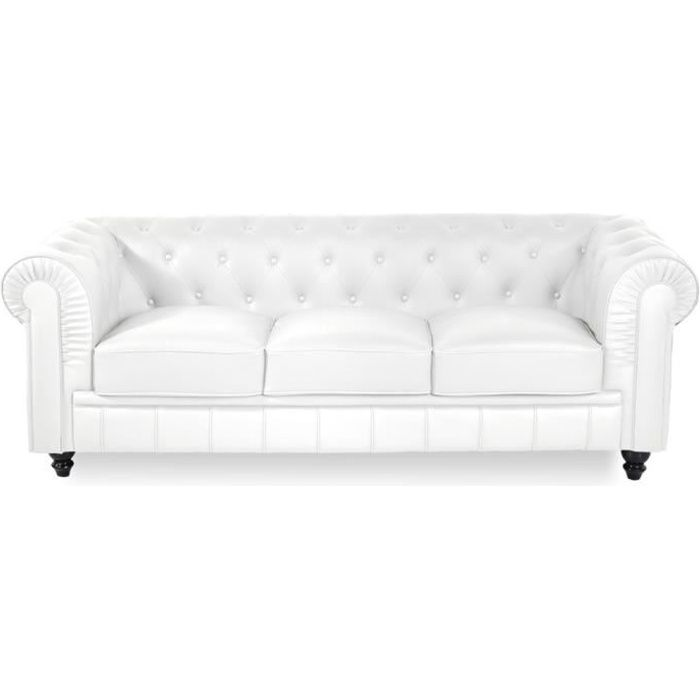 Canap chesterfield 3 places regency blanc achat vente - Canape chesterfield 3 places ...