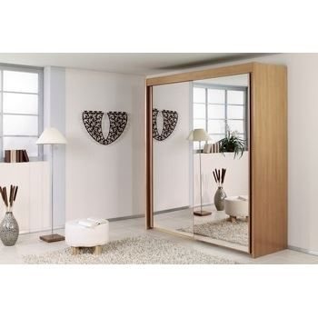 armoire portes coulissantes fa ade miroir 200 achat. Black Bedroom Furniture Sets. Home Design Ideas