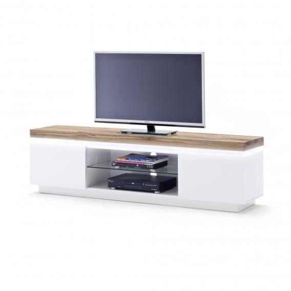 Meuble tv romina 2 portes 1 niche blanc et ch ne l175 for Meuble tv avec niche