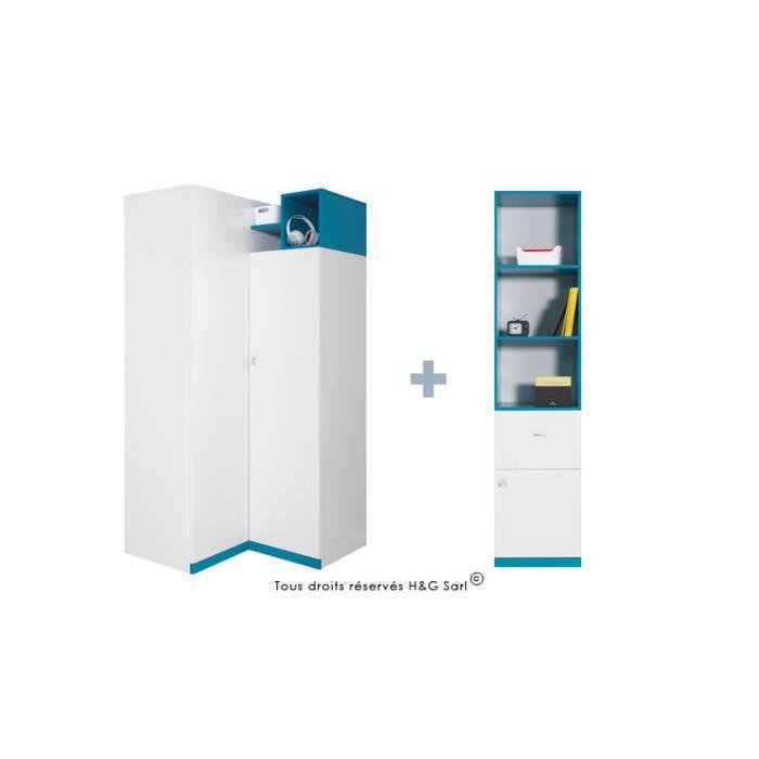 Armoire d'angle pour ados Finition : Blanc mat / Bleu 2 portes/ 2