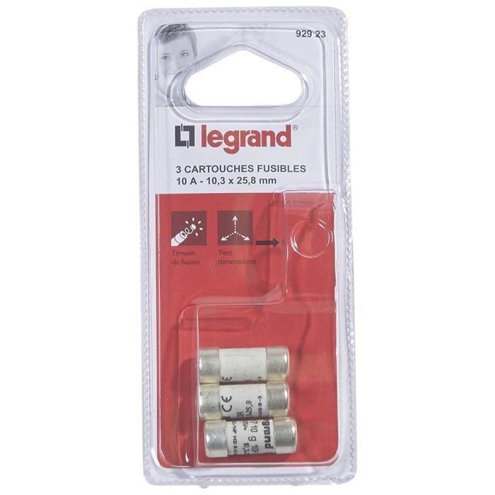 Legrand cartouche fusible pour porte fusible avec t moin 10a 2300w 10 3 x 25 8 achat vente - Porte fusible legrand ...