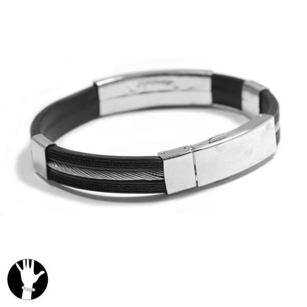 bracelet homme noir acier et c ble gravure incluse achat vente bracelet gourmette bracelet. Black Bedroom Furniture Sets. Home Design Ideas