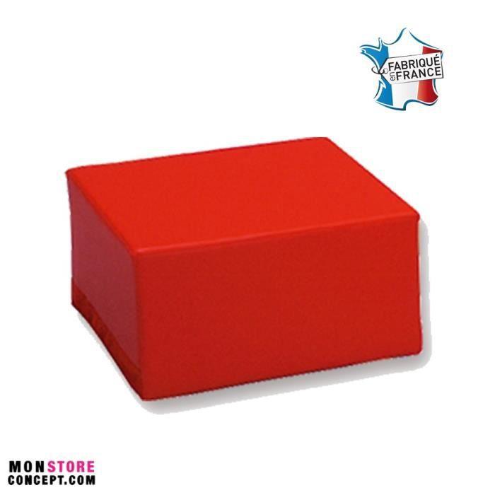 pouf carr t2 ht d 39 assise 32 cm rouge achat vente chauffeuse pouf 9507655726237 cdiscount. Black Bedroom Furniture Sets. Home Design Ideas
