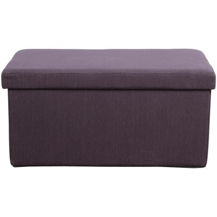 banquette pouf pliant coffre aubergine achat vente banquette cdiscount. Black Bedroom Furniture Sets. Home Design Ideas