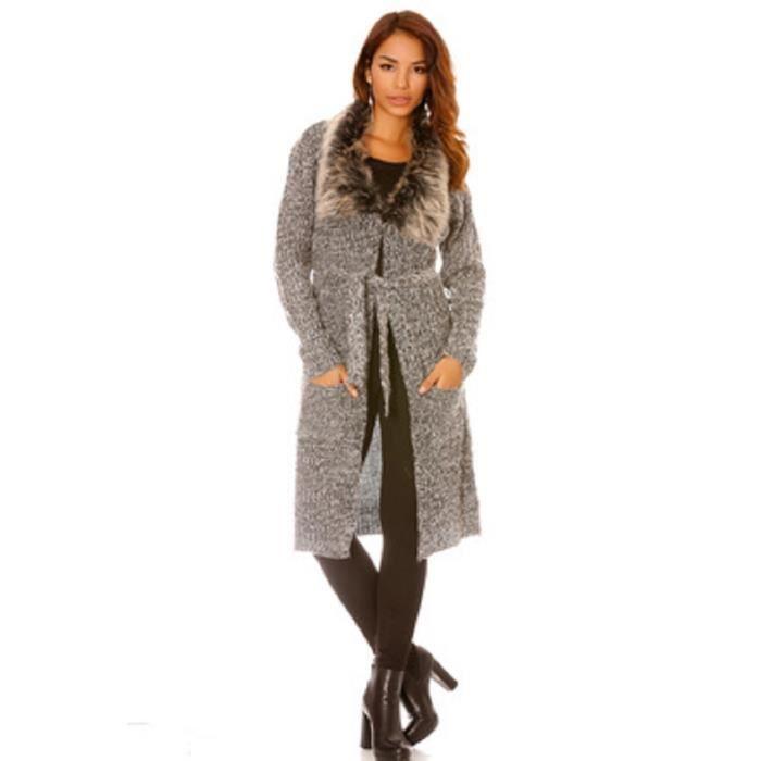 gilet gris long gris avec ceinture et col en fourrure gris gris achat vente gilet cardigan. Black Bedroom Furniture Sets. Home Design Ideas