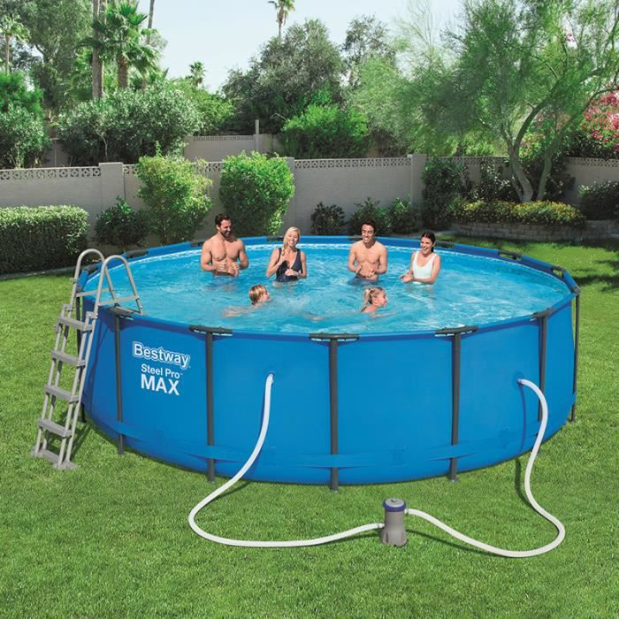 Piscine tubulaire ronde bestway achat vente for Piscine intex metal frame 4 57x1 22