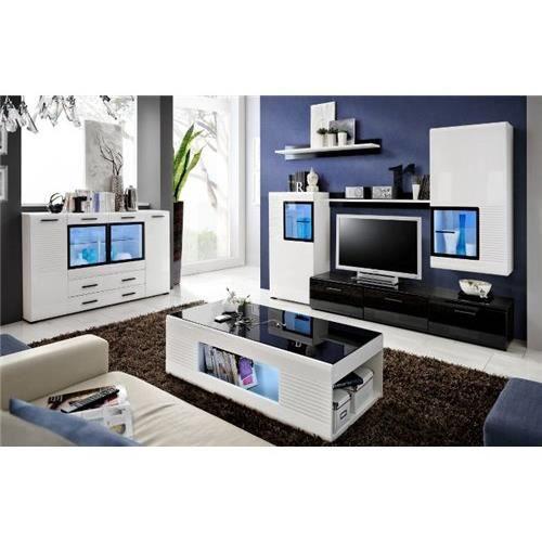 Ensemble mural mete noir et blanc achat vente meuble tv ensemble mural - Meuble salon noir et blanc ...