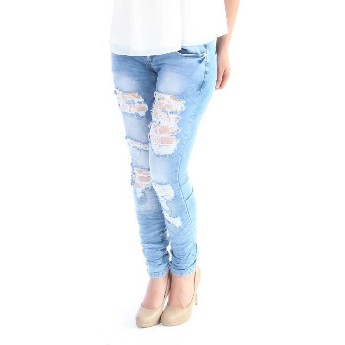 jeans d chir avec de la dentelle femme achat vente jeans soldes cdiscount. Black Bedroom Furniture Sets. Home Design Ideas