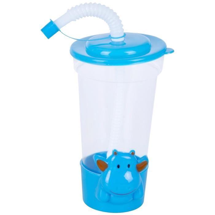 gobelet enfant a transporter paille flexible bouchon anti goutte hippopotame ludique bleu. Black Bedroom Furniture Sets. Home Design Ideas