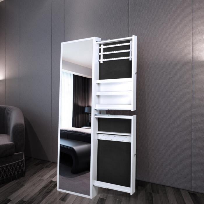 armoire bijoux blanche avec miroir et 2 tiroirs achat vente miroir mdf cdiscount. Black Bedroom Furniture Sets. Home Design Ideas