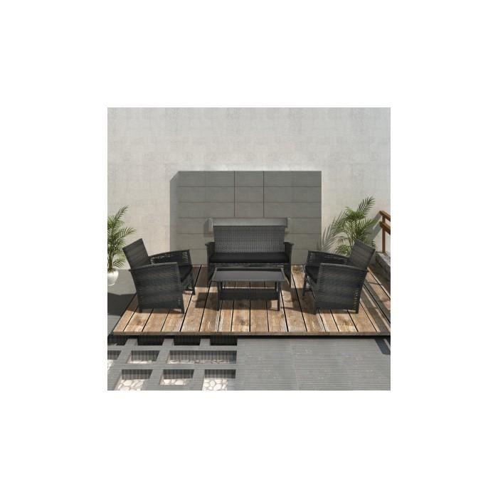 Salon de jardin gris en r sine tress e 4 pi ces achat - Salon de jardin en resine cdiscount ...