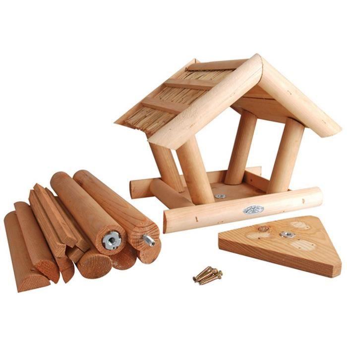 cages et perchoirs a oiseaux mangeoire pour oiseaux avec toit en chaume esschert design fb254. Black Bedroom Furniture Sets. Home Design Ideas