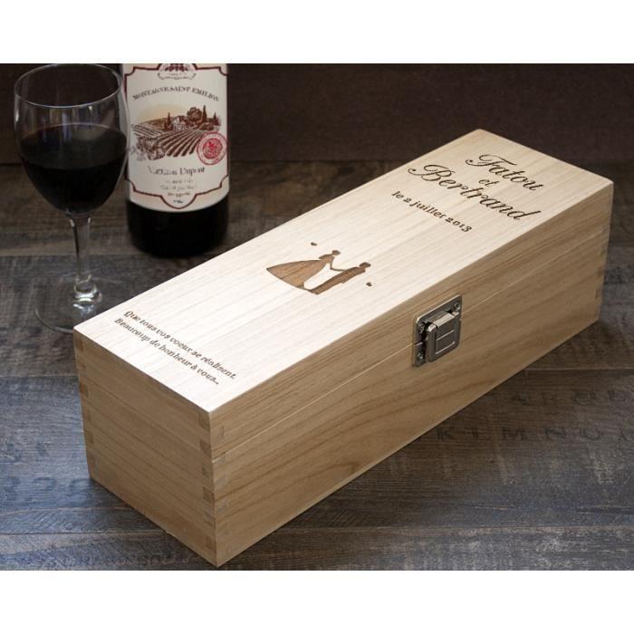 Caisse vin en bois grav e mariage achat vente - Caisse en bois a donner ...
