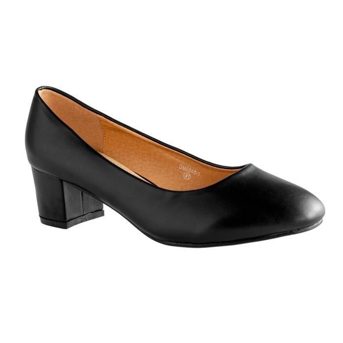 chaussures ballerines femme grande taille avec talon dm6848 1 noir noir achat vente. Black Bedroom Furniture Sets. Home Design Ideas