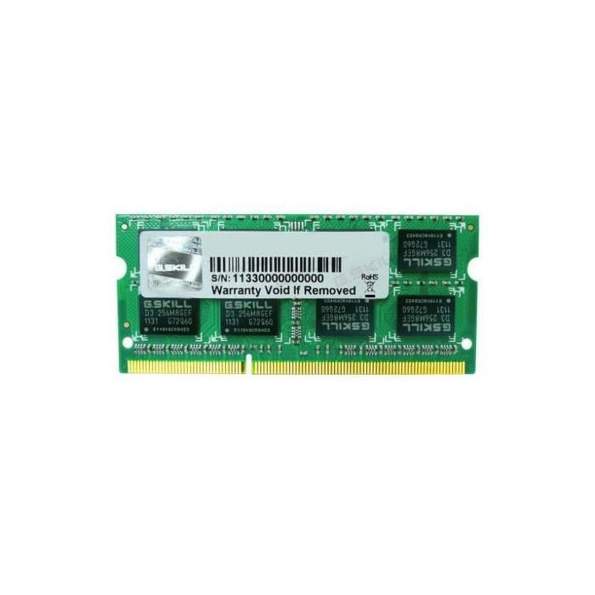MÉMOIRE RAM G.Skill Mémoire PC DDR3 - 4Go - 1333MHz - CL9 - SO