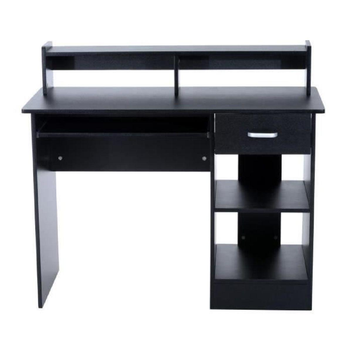 bureau informatique table de l ordinateur avec tablette pour clavier de nombreux rangements 106l. Black Bedroom Furniture Sets. Home Design Ideas