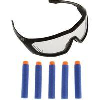PISTOLET MOUSSE - BILLE NERF Elite Lunettes Vision Gear + 5 Flechettes