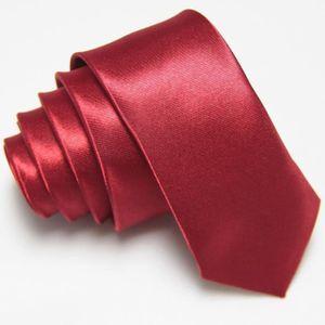 CRAVATE - NŒUD PAPILLON Cravate Satinée  Brillante  couleur Bordeaux