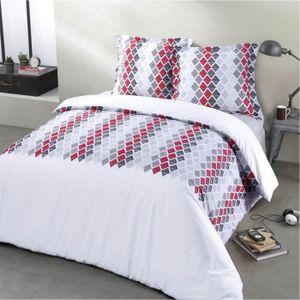 housse de couette 240x260 rouge et gris achat vente housse de couette 240x260 rouge et gris. Black Bedroom Furniture Sets. Home Design Ideas
