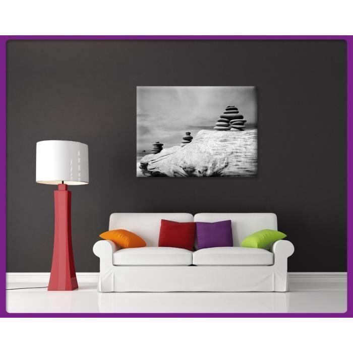 Bilderdepot24 impression sur toile zen cailloux noir et for Tableau impression sur toile