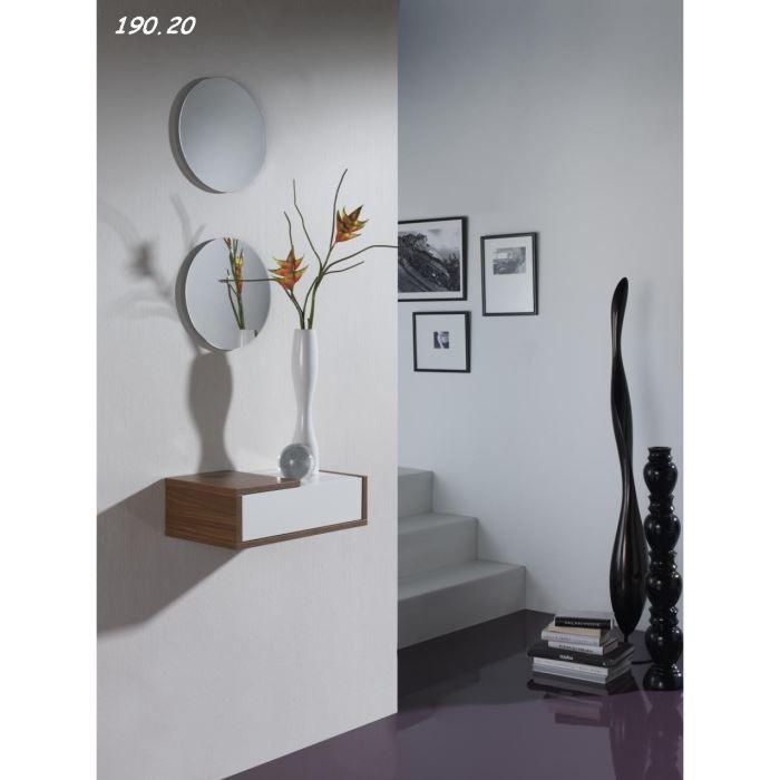 Console avec miroir moov 09 20 noyer blanc achat for Meuble entree original