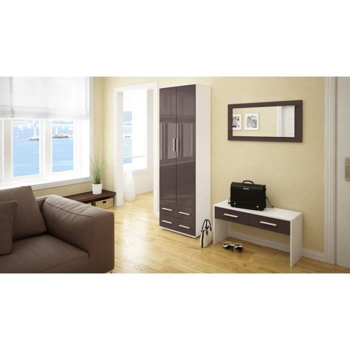 Ensemble de meubles d 39 entr e blanc et chocolat achat for Ensemble meuble entree